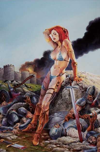 Dynamite - Invincible Red Sonja # 1 Paralel Evren Levend Canga Virgin Exclusive Variant Levend Canga İmzalı Online İmza