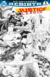 DC - DF Justice League # 1 DF Exclusive Tyler Kirkham Black & White Variant
