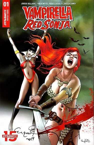 Dynamite - Vampirella Red Sonja # 1 Exclusive Paralel Evren Ergün Gündüz Variant Ergün Gündüz İmzalı
